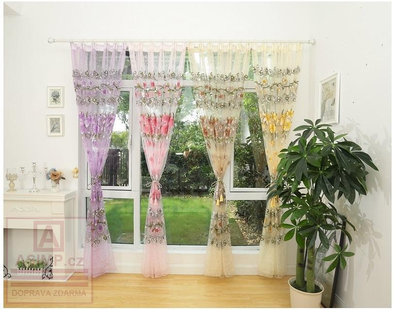 Květovaná záclona (100 x 270 cm) / AS1-00065-II