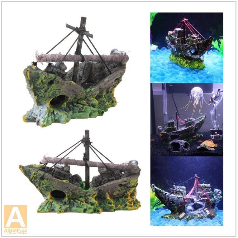 Dekorace do akvária - loď / AT-00509