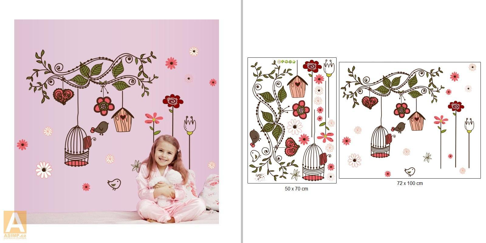 Dekorativní samolepka na zeď - Květiny, ptáček, klec / A-000996
