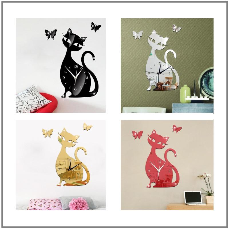 Nástěnné hodiny - kočka a motýlci / AT-00695