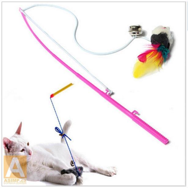 Hračka pro kočky - prut se zvonečkem a myškou / nz9-00010