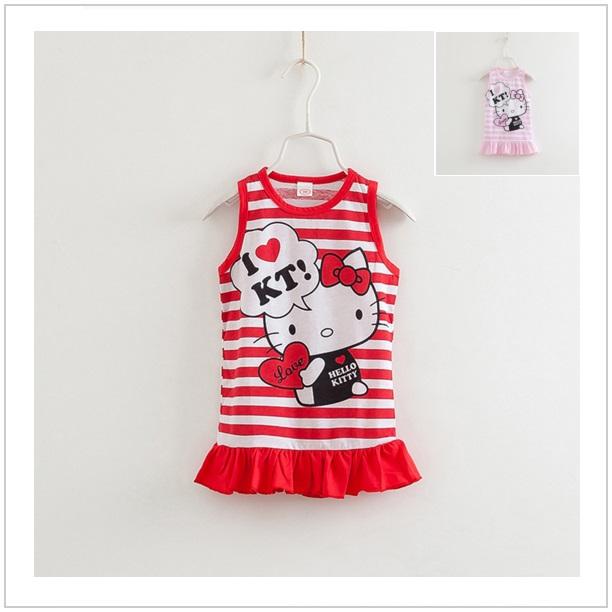 Dětské šatičky Hello Kitty - červené / dnk-13-00444