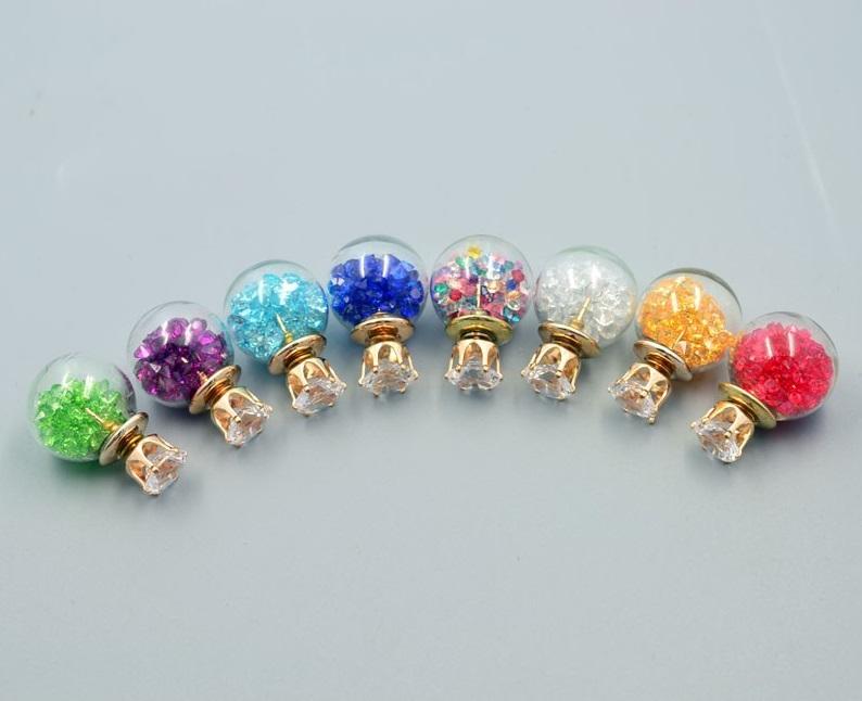 Kulaté náušnice s barevnými kamínky