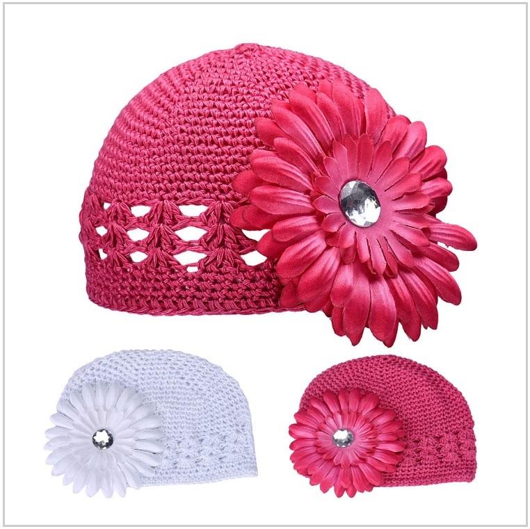 Dětská pletená čepice - růžová / dnk-13-00463