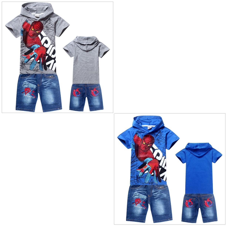 Dětské triko a džínové kraťasy - Spiderman ( kraťasy + tričko ) / dnk-13-00992