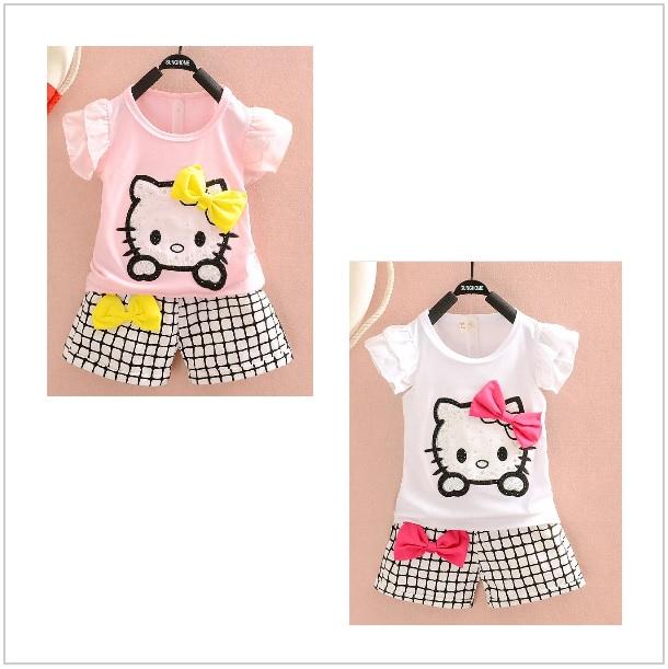 Dětský set - triko & kraťasy - Hello Kitty / dnk-13-01096