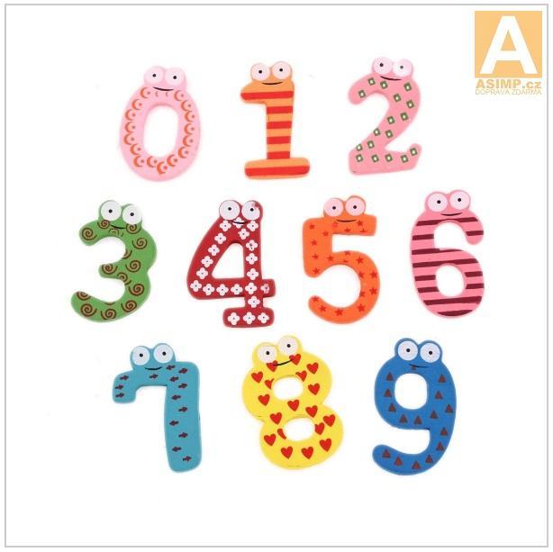 Dřevěné magnetky - čísla (10 ks) / dnk-13-01147
