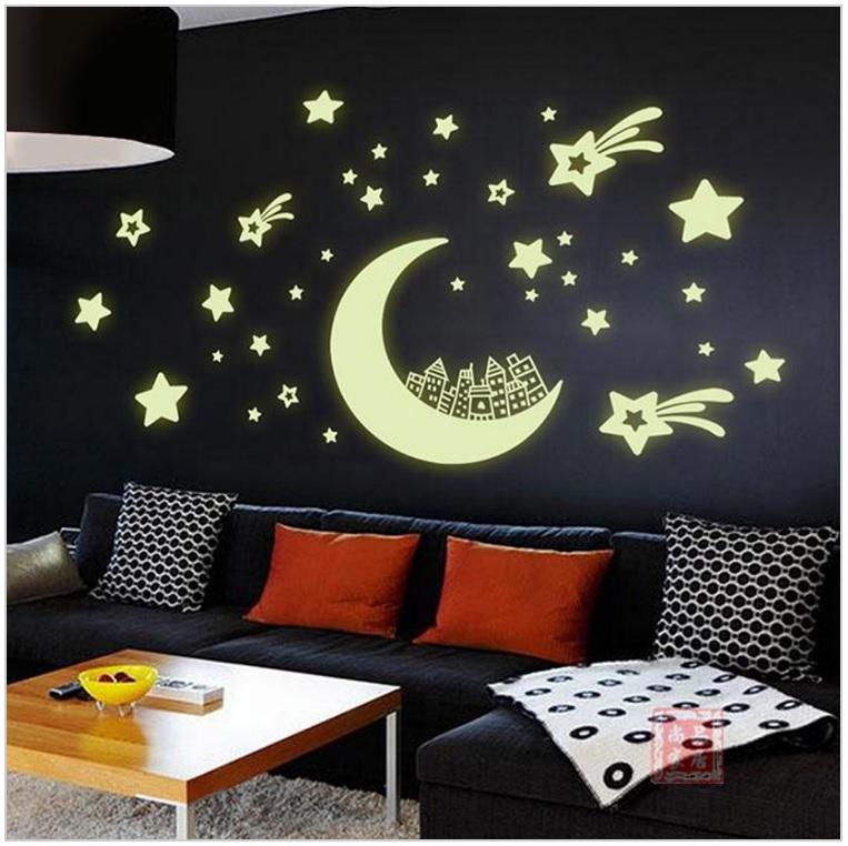 Svítící dekorace - měsíc a hvězdy / dnk-13-01316