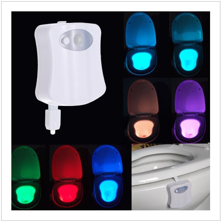 Automatické 8 barevné LED osvětlení toalety / AT-00054