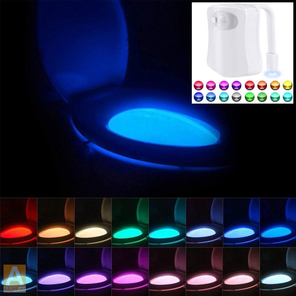 Automatické 8 barevné LED osvětlení toalety / A-000138