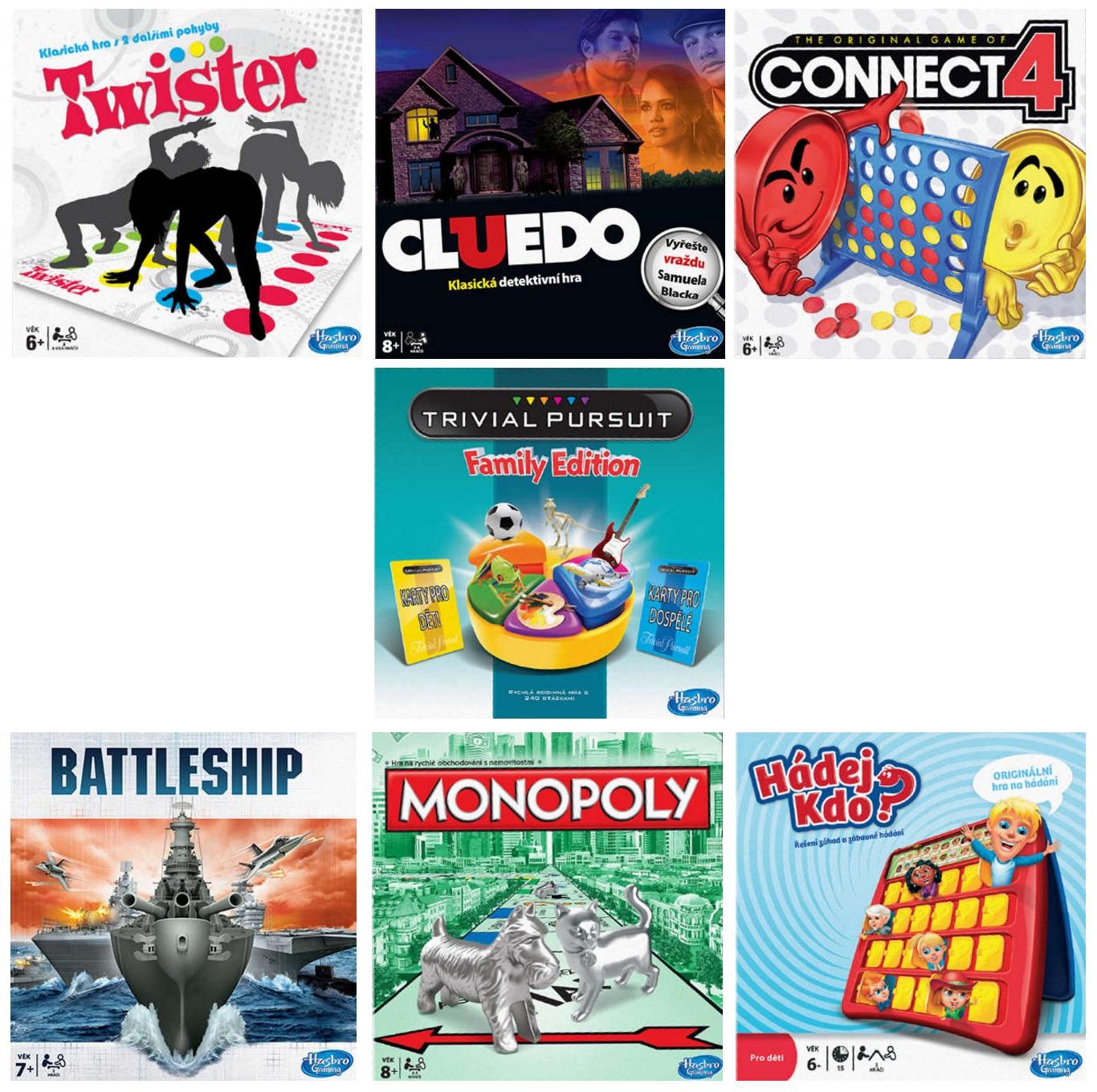 Dětské hry Hasbro (kompletní sada 7 her) / HS-0001-II (EXPEDICE DO 24 HODIN / MOŽNÝ I OSOBNÍ ODBĚR)