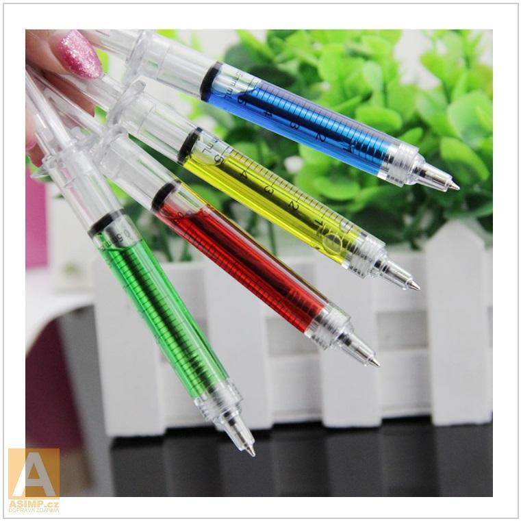 Kuličkové pero - injekční stříkačka (4 ks / barvy) / AT-00109