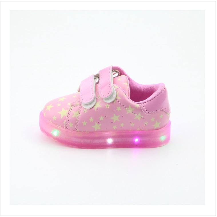 Dětské svítící boty - růžové / AD-00199b
