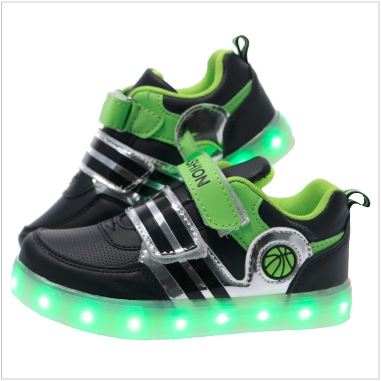 Dětské svítící boty - zelené / AD-00200a