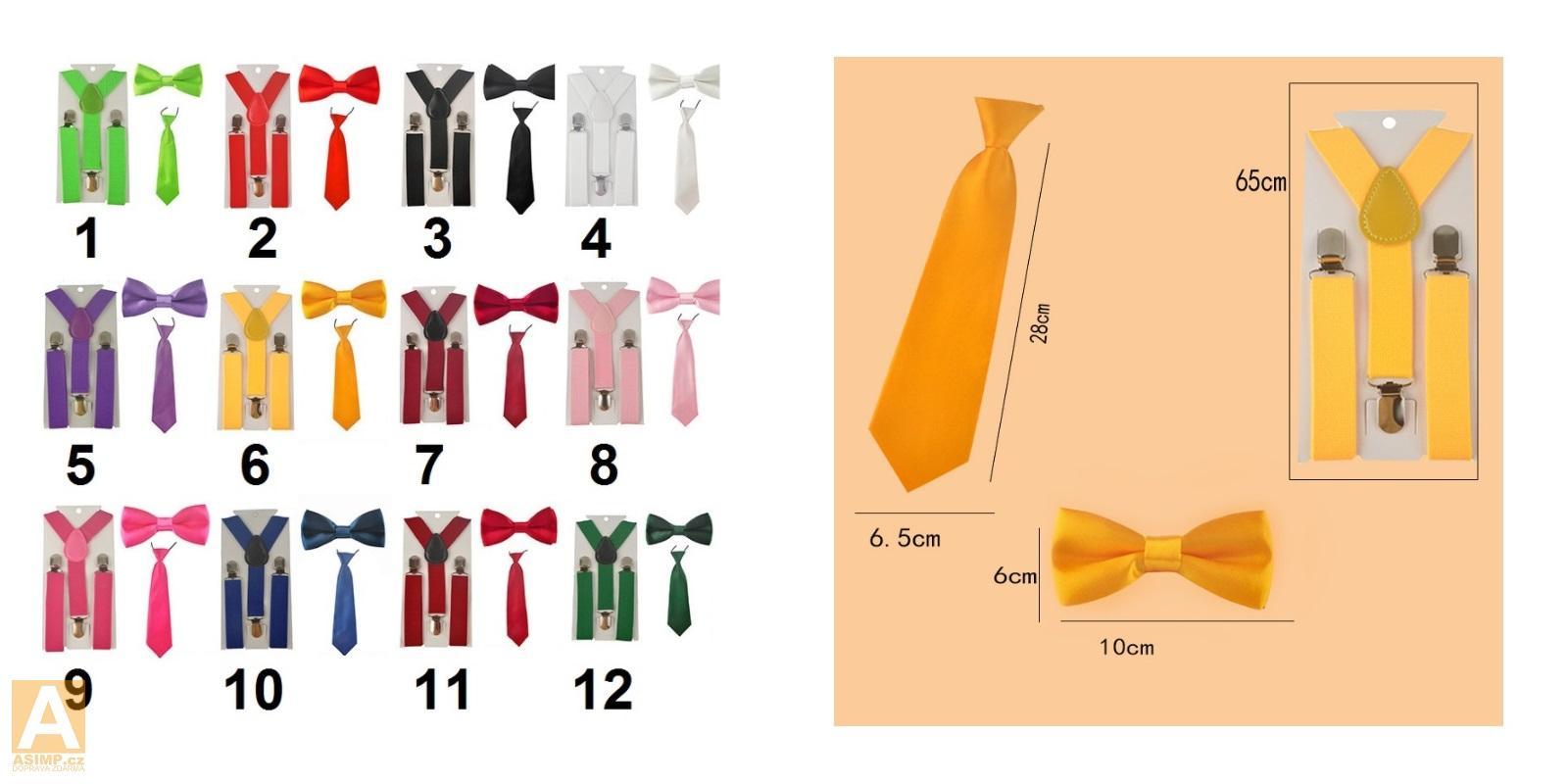 Dětské šle s motýlkem a kravatou / A-000663