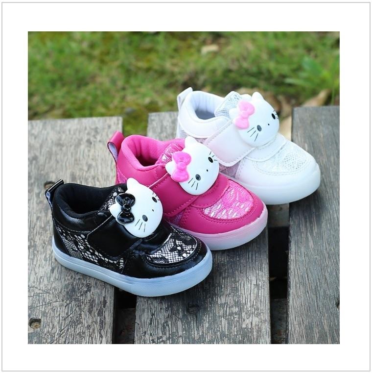 Dětské svítící boty - Helo Kitty (černé) / AD-00230c