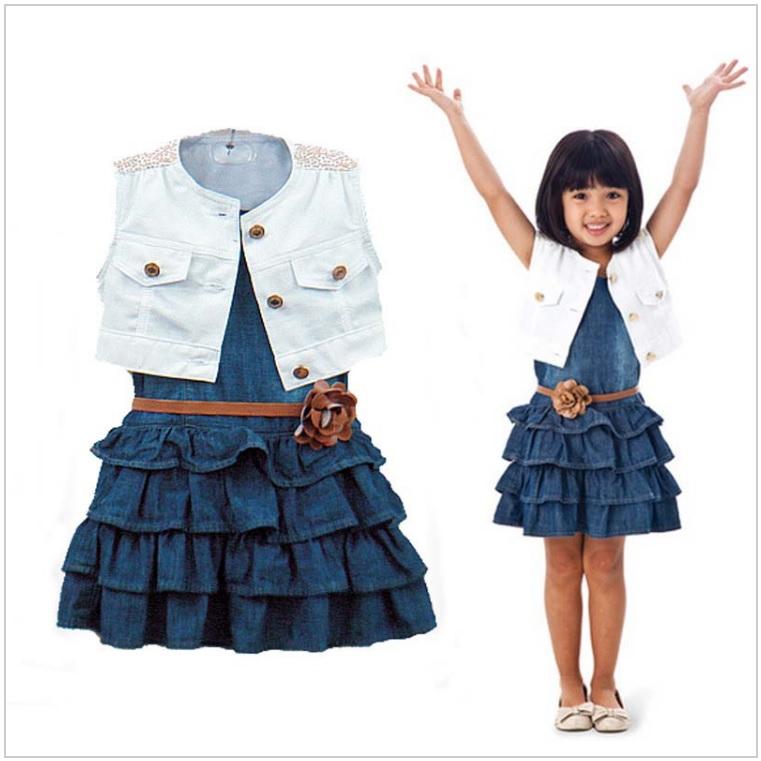 Dětské džínové šaty s vestou / AD-00237