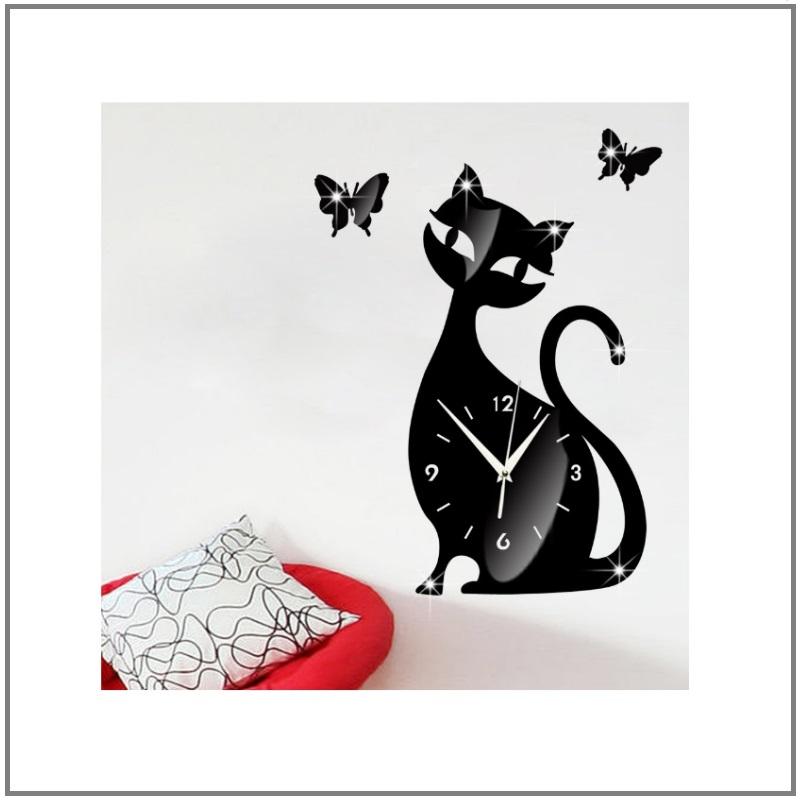 Nástěnné hodiny - kočka a motýlci / AT-00039 (EXPEDICE DO 24 HODIN / MOŽNÝ I OSOBNÍ ODBĚR)