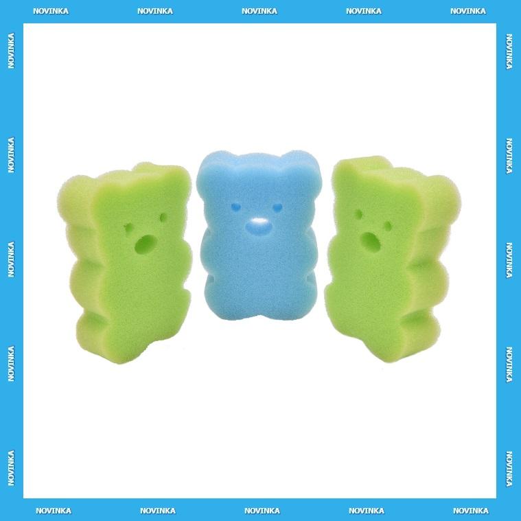 Dětská tělová houba na mytí - Méďa (3 ks) / KD-00036