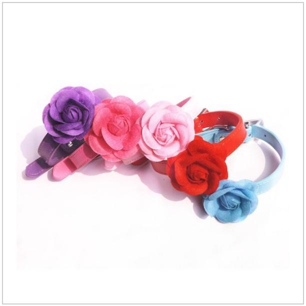 Obojek s růží pro psí slečny (M) / dnk-13-01168c