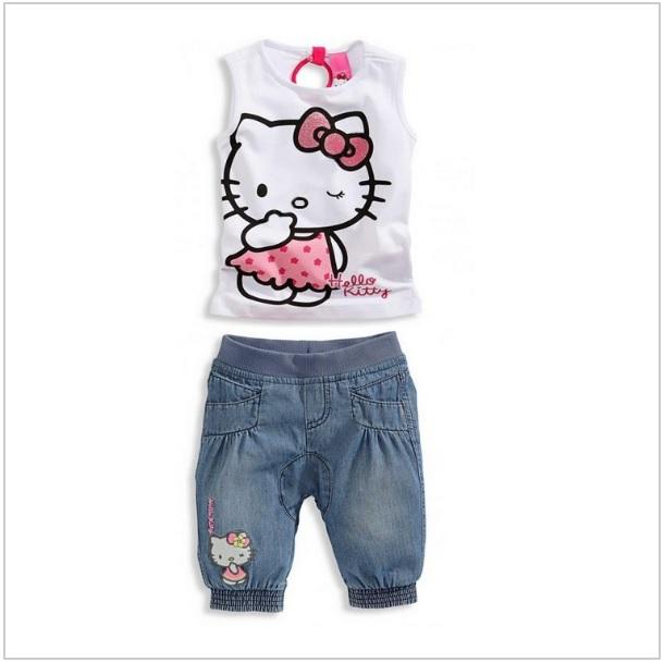 Dětské kalhoty & tričko - Hello Kitty / dnk-13-01086