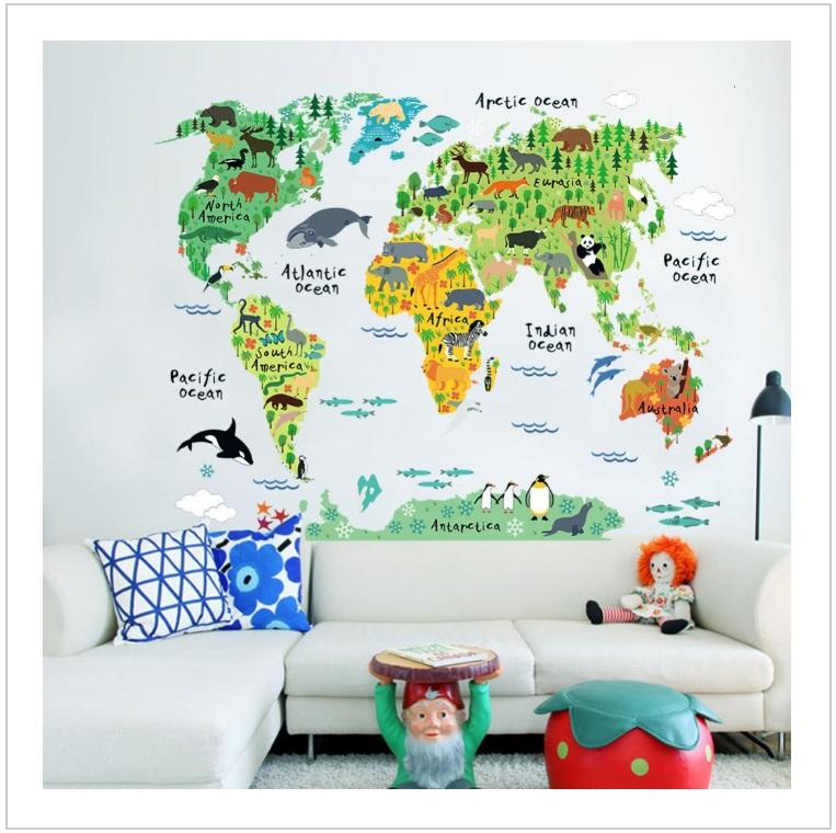 Samolepka na zeď - Mapa světa / tnk-13-02165